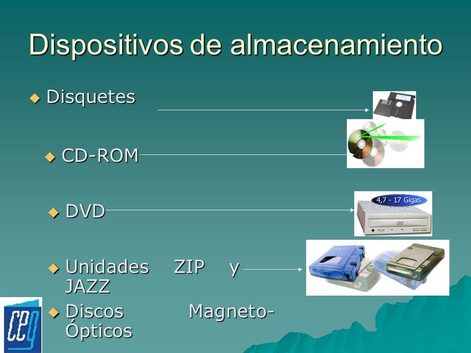 Dispositivos de almacenamiento Disquetes Disquetes CD-ROM CD-ROM DVD DVD Unidades ZIP y JAZZ Unidades ZIP y JAZZ Discos Magneto- Ópticos Discos Magnet
