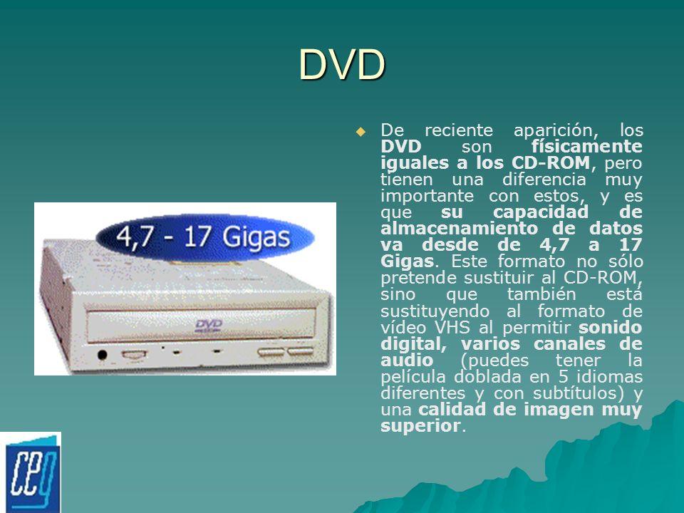 DVD De reciente aparición, los DVD son físicamente iguales a los CD-ROM, pero tienen una diferencia muy importante con estos, y es que su capacidad de