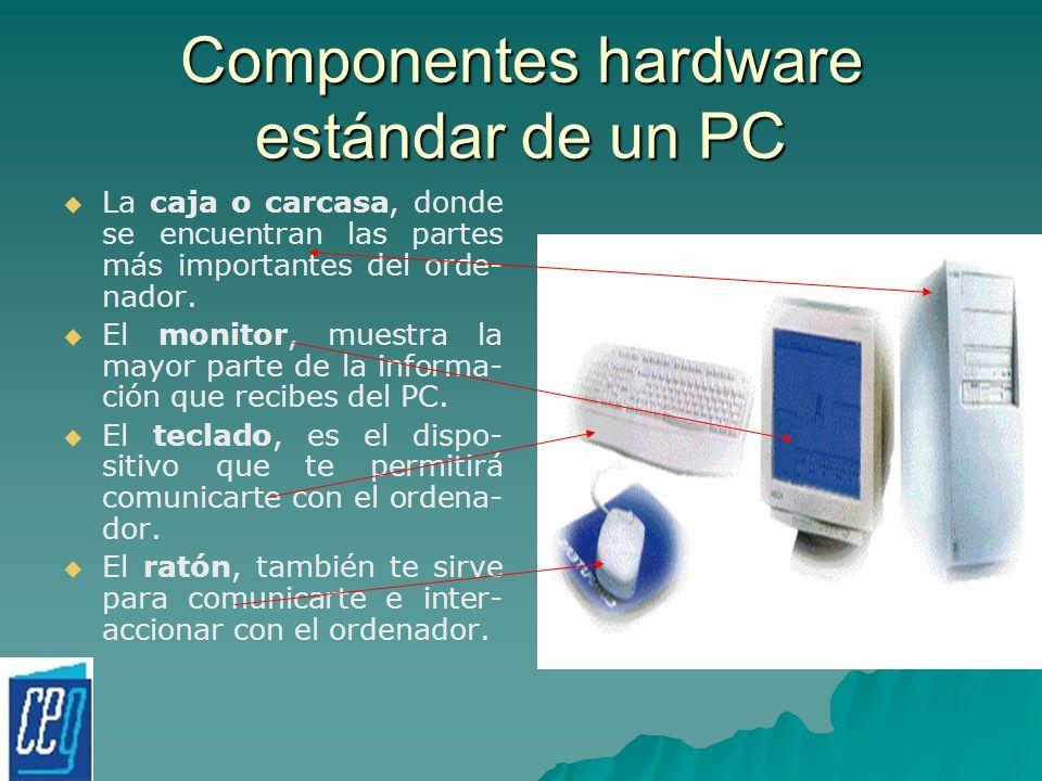 Componentes hardware estándar de un PC La caja o carcasa, donde se encuentran las partes más importantes del orde- nador. El monitor, muestra la mayor