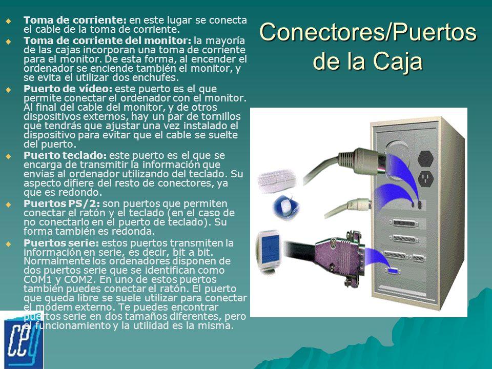 Conectores/Puertos de la Caja Toma de corriente: en este lugar se conecta el cable de la toma de corriente. Toma de corriente del monitor: la mayoría