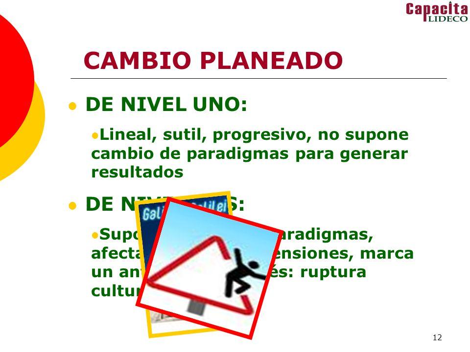 12 CAMBIO PLANEADO DE NIVEL UNO: Lineal, sutil, progresivo, no supone cambio de paradigmas para generar resultados DE NIVEL DOS: Supone cambio de para