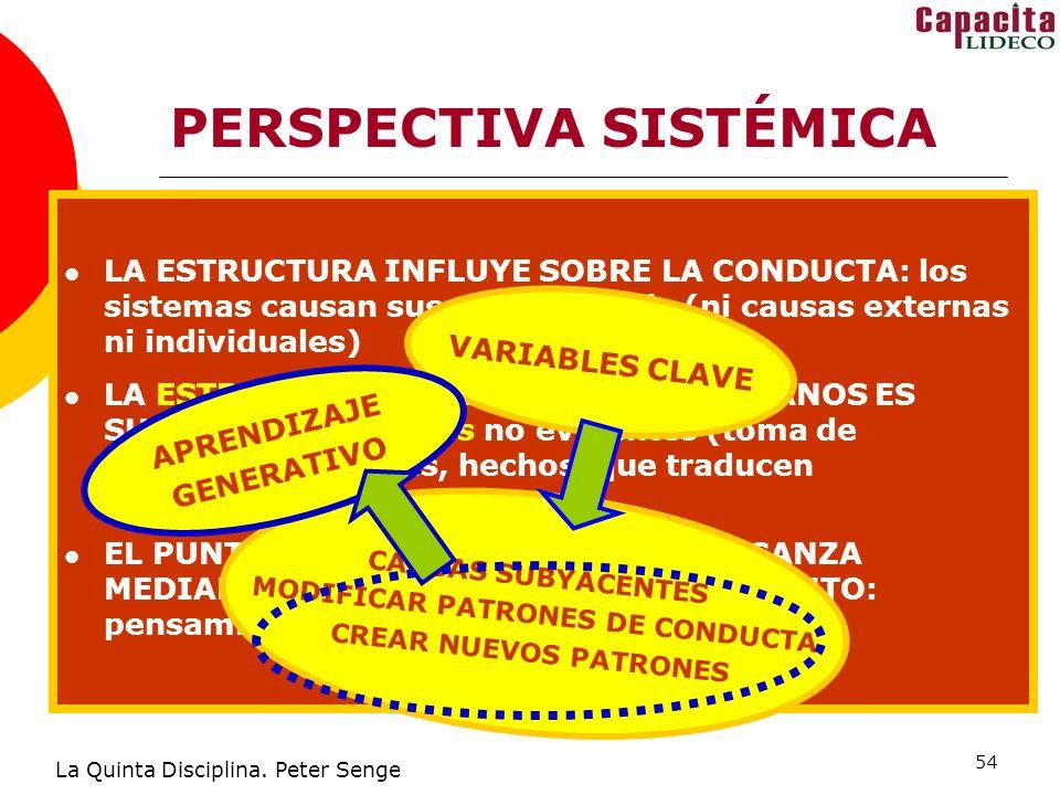54 PERSPECTIVA SISTÉMICA La Quinta Disciplina. Peter Senge COMPRENDER INTERCONEXIÓN RESTABLECE RESPONSABILIDAD RESPONSABILIDAD E INTERCONEXIÓN RESTABL