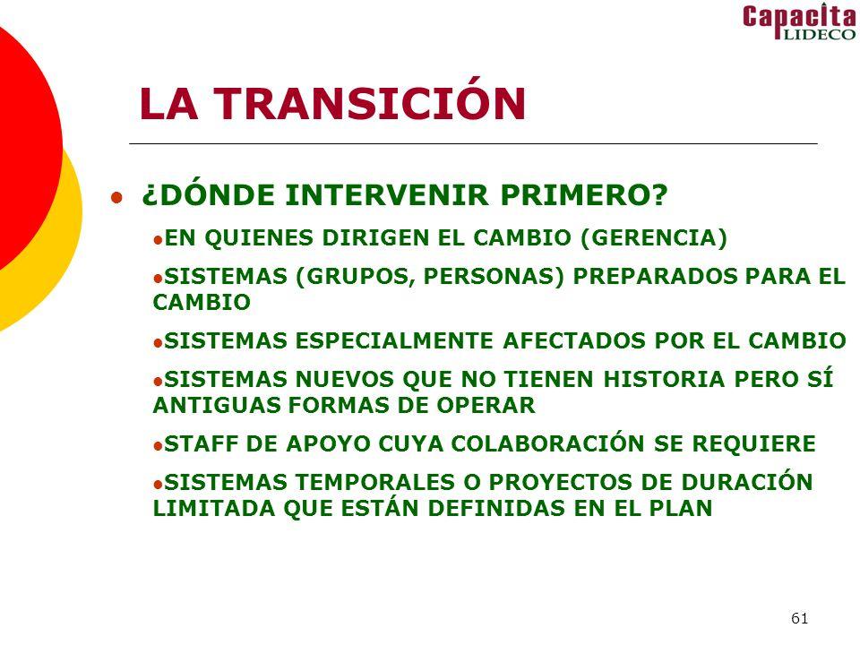 61 LA TRANSICIÓN ¿DÓNDE INTERVENIR PRIMERO.
