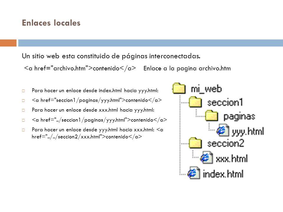 Enlaces locales Un sitio web esta constituido de páginas interconectadas. contenido Enlace a la pagina archivo.htm Para hacer un enlace desde index.ht