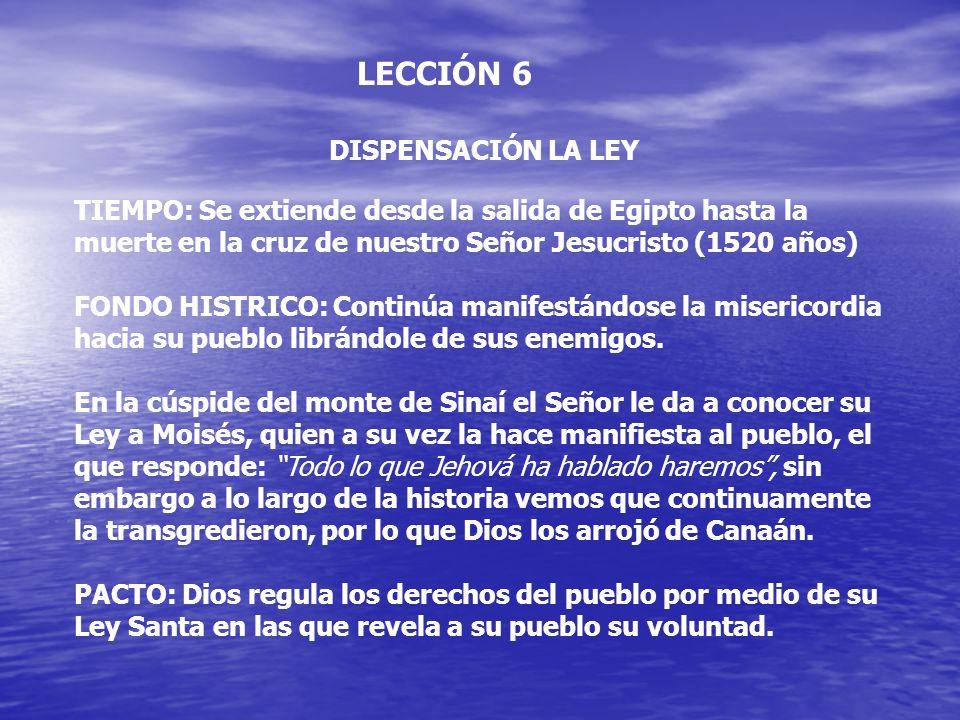 LECCIÓN 6 DISPENSACIÓN LA LEY TIEMPO: Se extiende desde la salida de Egipto hasta la muerte en la cruz de nuestro Señor Jesucristo (1520 años) FONDO H