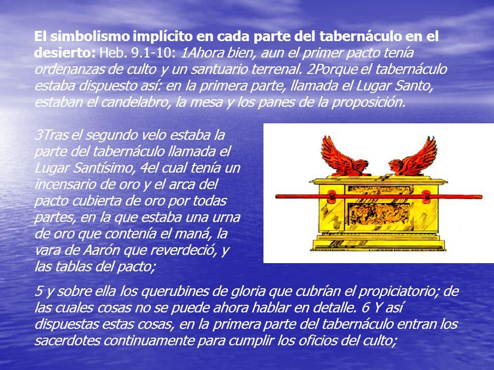 El simbolismo implícito en cada parte del tabernáculo en el desierto: Heb. 9.1-10: 1Ahora bien, aun el primer pacto tenía ordenanzas de culto y un san