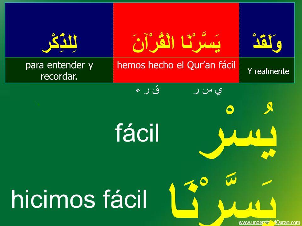 www.understandQuran.com وَلَقَدْ يَسَّرْنَا الْقُرْآنَ لِلذِّكْرِ Y realmente hemos hecho el Quran fácilpara entender y recordar. ي س ري س رق ر ءق ر ء
