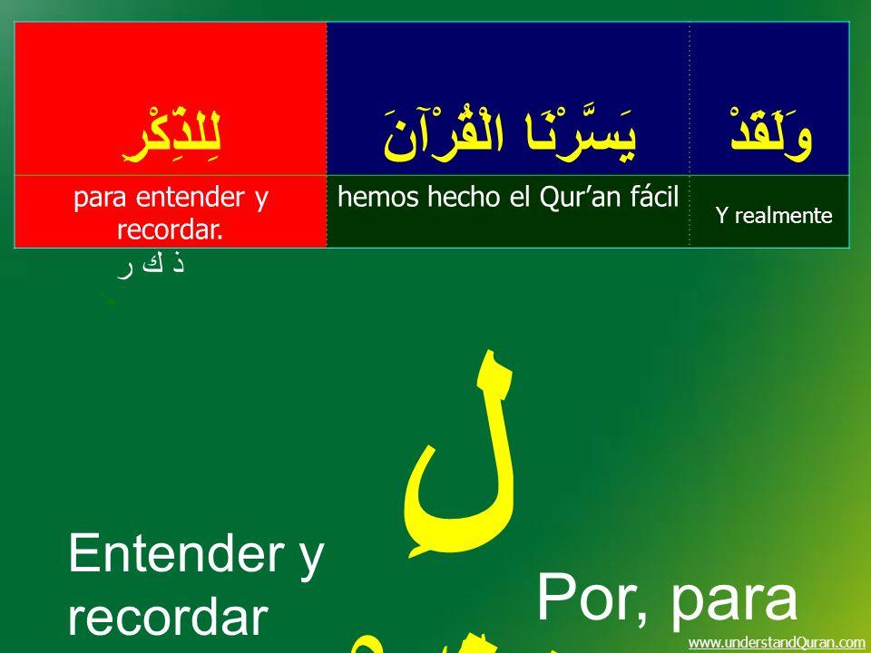 www.understandQuran.com وَلَقَدْ يَسَّرْنَا الْقُرْآنَ لِلذِّكْرِ Y realmente hemos hecho el Quran fácilpara entender y recordar. ذ ك رذ ك ر لِ الذِّك