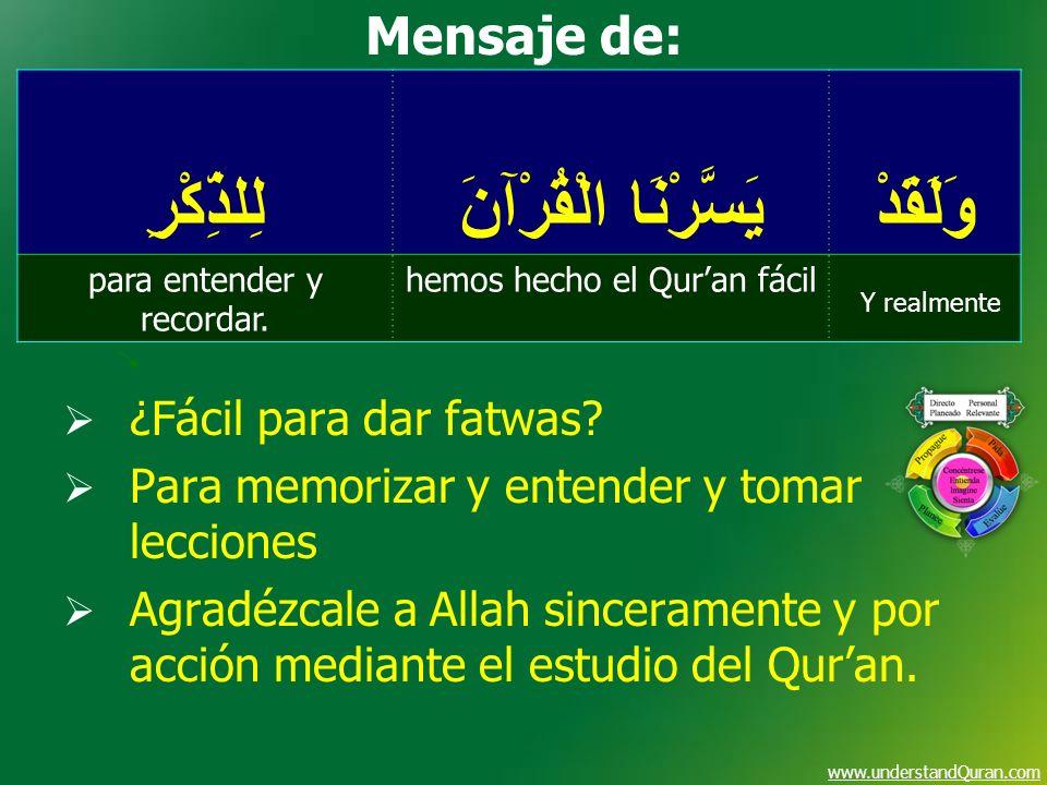 www.understandQuran.com وَلَقَدْ يَسَّرْنَا الْقُرْآنَ لِلذِّكْرِ Y realmente hemos hecho el Quran fácilpara entender y recordar. Mensaje de: ¿Fácil p