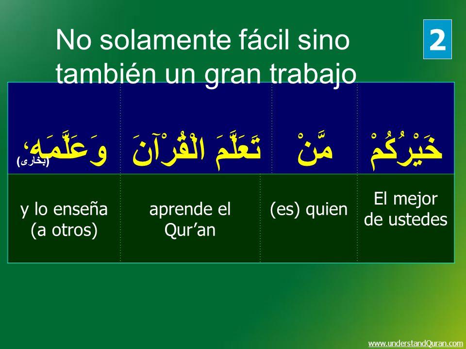 www.understandQuran.com خَيْرُكُمْمَّنْ تَعَلَّمَ الْقُرْآنَ وَعَلَّمَه ، El mejor de ustedes (es) quienaprende el Quran y lo enseña (a otros) (بخارى)