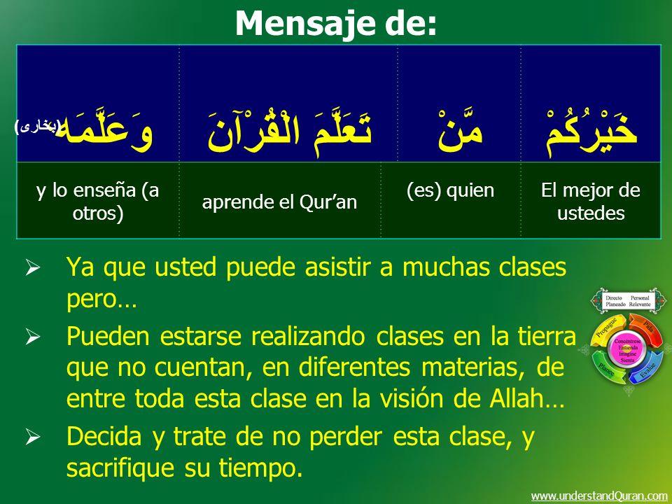 www.understandQuran.com خَيْرُكُمْمَّنْ تَعَلَّمَ الْقُرْآنَ وَعَلَّمَه ، El mejor de ustedes (es) quien aprende el Quran y lo enseña (a otros) (بخارى