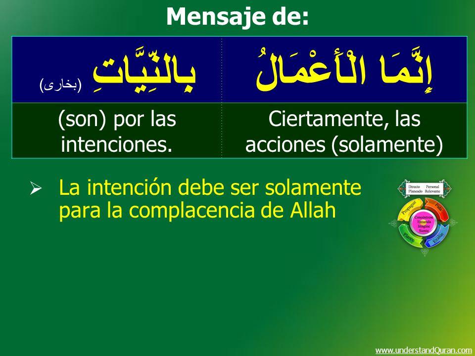 www.understandQuran.com إِنَّمَا الْأَعْمَالُبِالنِّيَّاتِ ( بخارى ) Ciertamente, las acciones (solamente) (son) por las intenciones. Mensaje de: La i