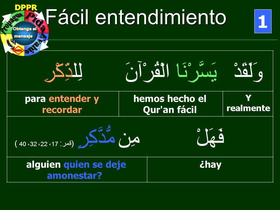 Fácil entendimiento 1 وَلَقَدْيَسَّرْنَا الْقُرْآنَلِلذِّكْرِ Y realmente hemos hecho el Qur'an fácil para entender y recordar فَهَلْمِن مُّدَّكِرٍ (