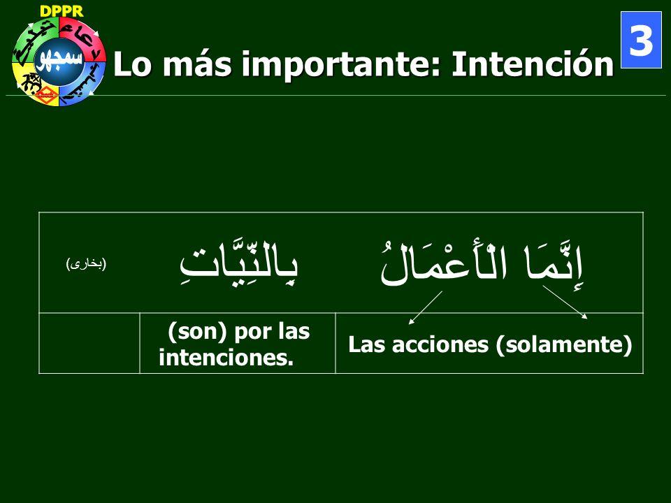 Lo más importante: Intención 3 إِنَّمَا الْأَعْمَالُ بِالنِّيَّاتِ ( بخارى ) Las acciones (solamente) (son) por las intenciones.