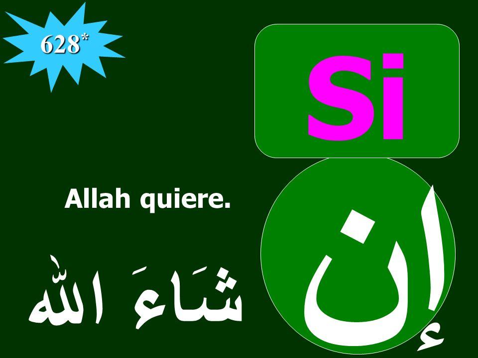 Si إن شَاءَ الله َ 628 * Allah quiere.