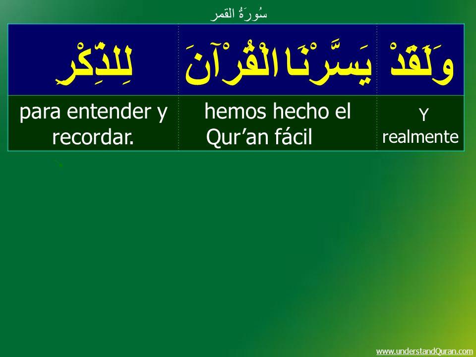 www.understandQuran.com وَلَقَدْيَسَّرْنَا الْقُرْآنَلِلذِّكْرِ Y realmente hemos hecho el Quran fácil para entender y recordar. سُورَةُ القمر