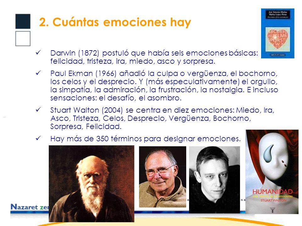Darwin (1872) postuló que había seis emociones básicas: felicidad, tristeza, ira, miedo, asco y sorpresa.