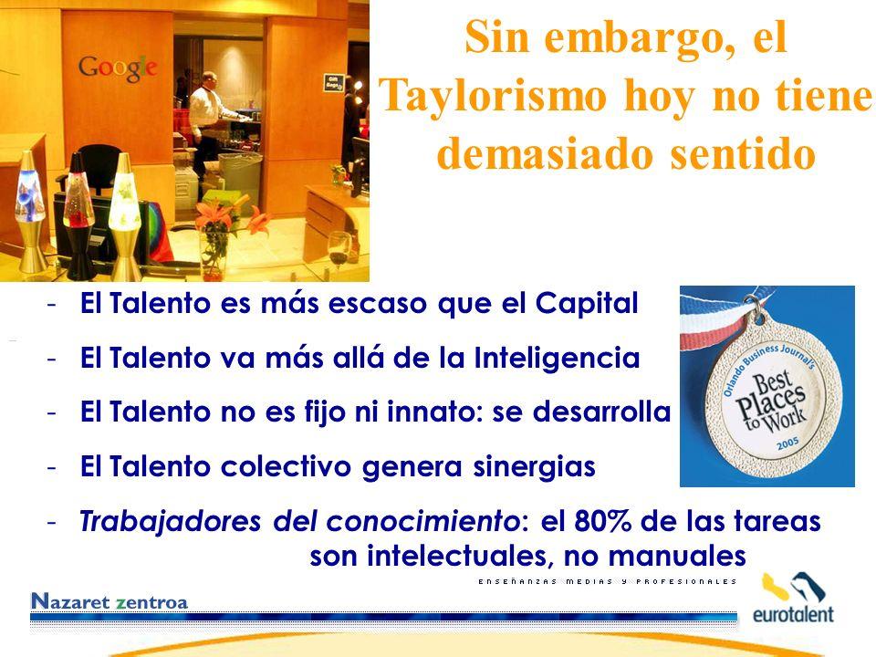 - El Talento es más escaso que el Capital - El Talento va más allá de la Inteligencia - El Talento no es fijo ni innato: se desarrolla - El Talento colectivo genera sinergias - Trabajadores del conocimiento : el 80% de las tareas son intelectuales, no manuales Sin embargo, el Taylorismo hoy no tiene demasiado sentido