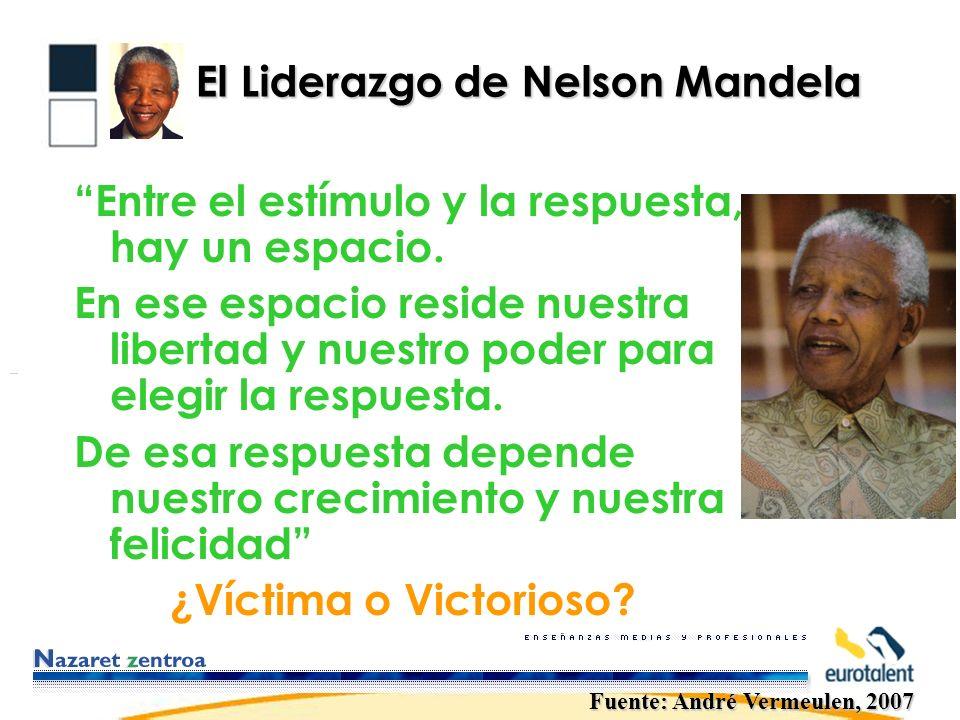 El Liderazgo de Nelson Mandela Entre el estímulo y la respuesta, hay un espacio.