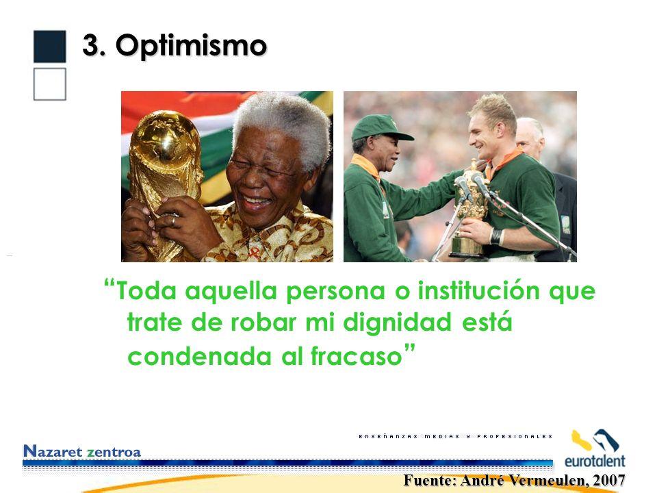 3. Optimismo Toda aquella persona o institución que trate de robar mi dignidad está condenada al fracaso Fuente: André Vermeulen, 2007