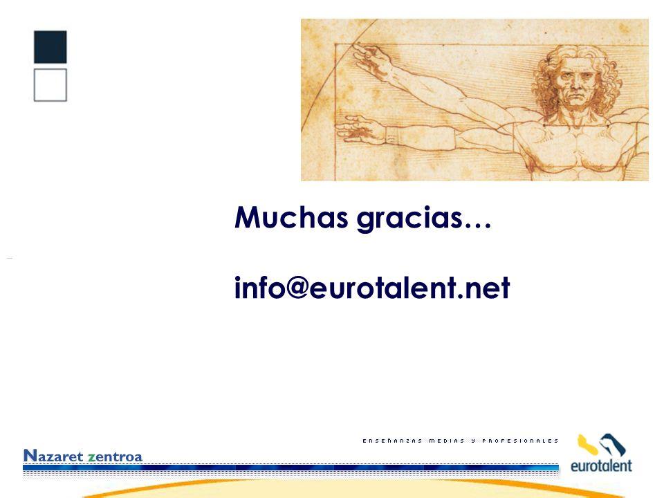 Muchas gracias… info@eurotalent.net