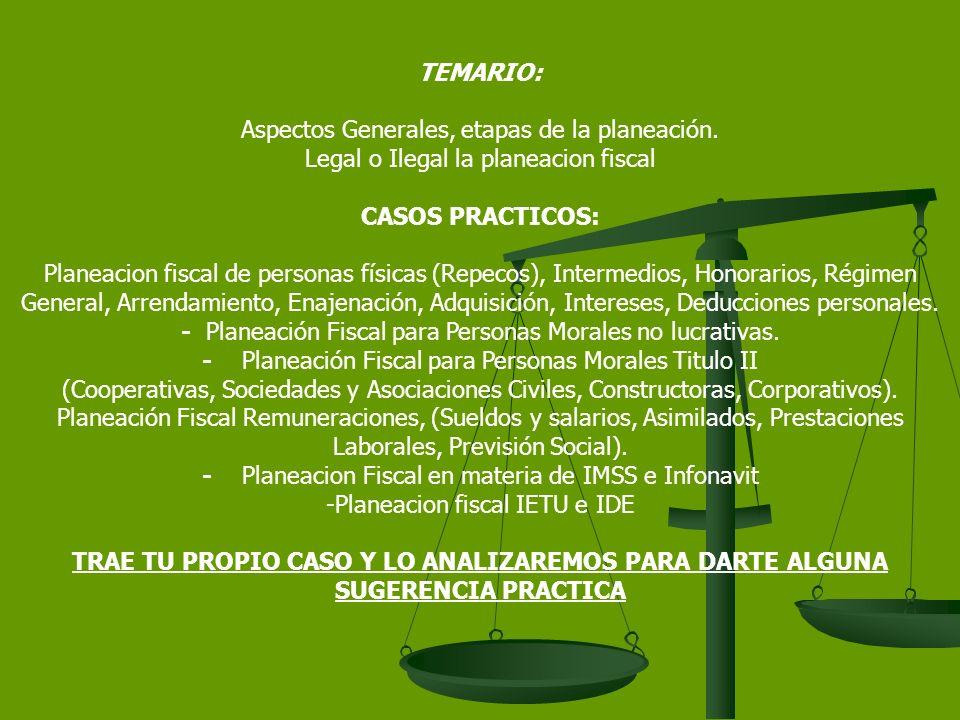 TEMARIO: Aspectos Generales, etapas de la planeación.