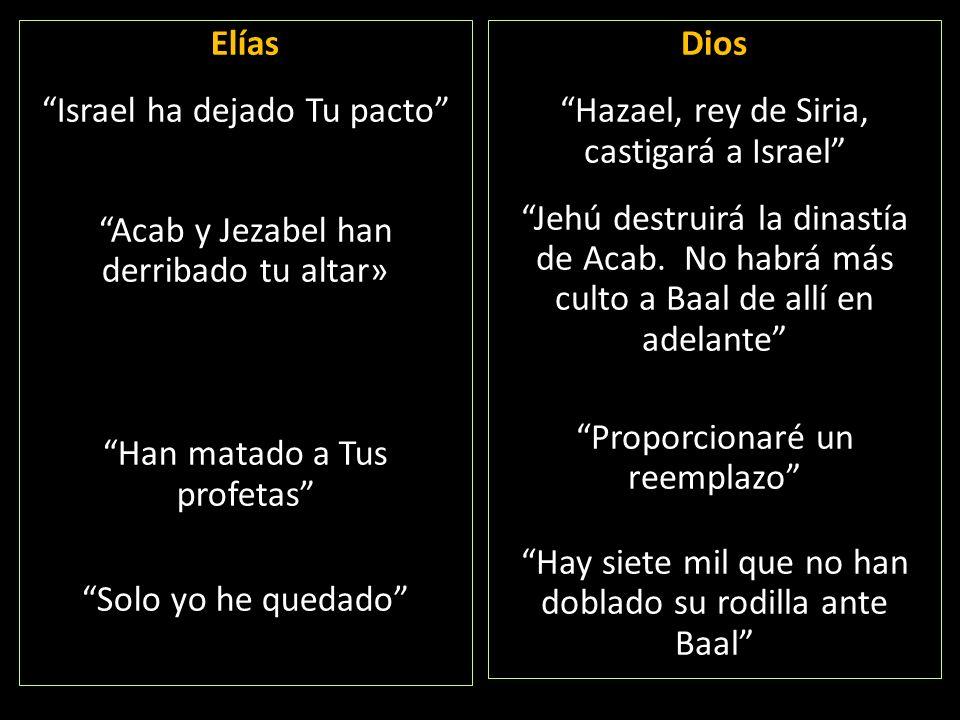Elías Israel ha dejado Tu pacto Acab y Jezabel han derribado tu altar» Han matado a Tus profetas Solo yo he quedado Dios Hazael, rey de Siria, castiga