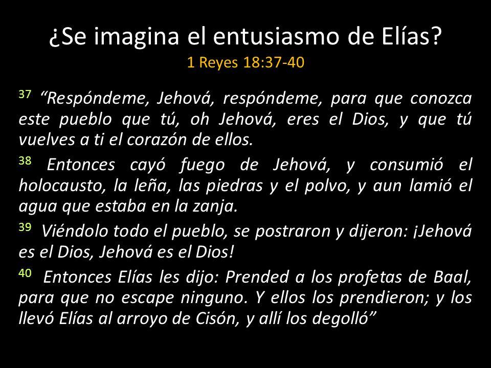 ¿Se imagina el entusiasmo de Elías? 1 Reyes 18:37-40 37 Respóndeme, Jehová, respóndeme, para que conozca este pueblo que tú, oh Jehová, eres el Dios,