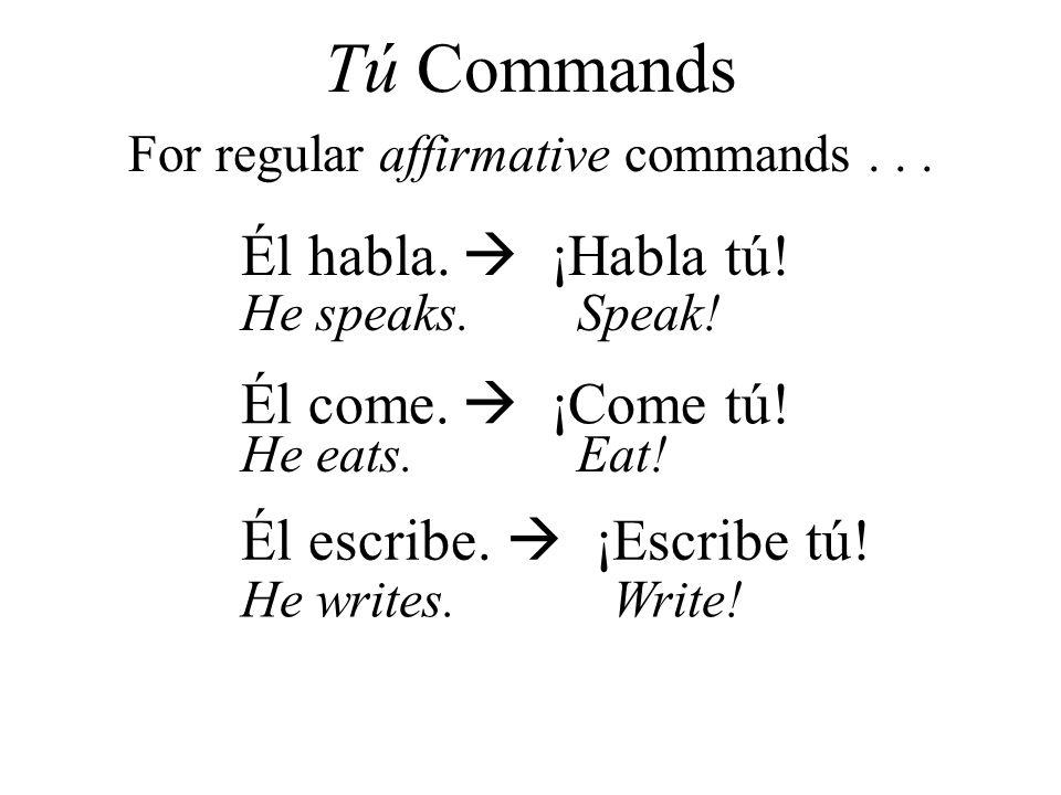 Él habla. ¡Habla tú! Él come. ¡Come tú! Él escribe. ¡Escribe tú! For regular affirmative commands... Tú Commands He speaks.Speak! He eats.Eat! He writ
