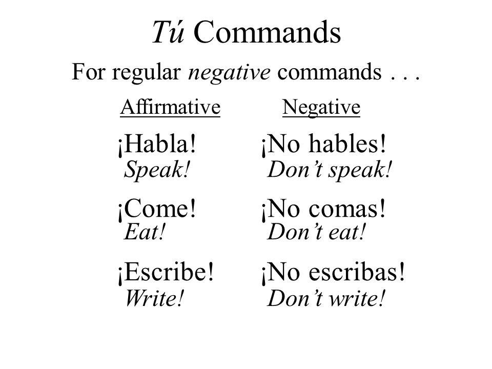 ¡Habla! ¡No hables! ¡Come!¡No comas! ¡Escribe!¡No escribas! AffirmativeNegative For regular negative commands... Tú Commands Speak!Dont speak! Eat!Don