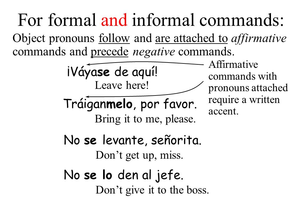 Object pronouns with tú commands The irregular affirmative command forms (except for sé) do not take a written accent unless more than one pronoun is added to the end of the verb.