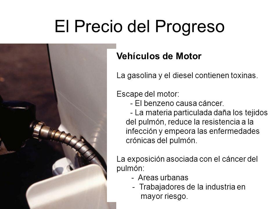 El Precio del Progreso Vehículos de Motor La gasolina y el diesel contienen toxinas. Escape del motor: - El benzeno causa cáncer. - La materia particu