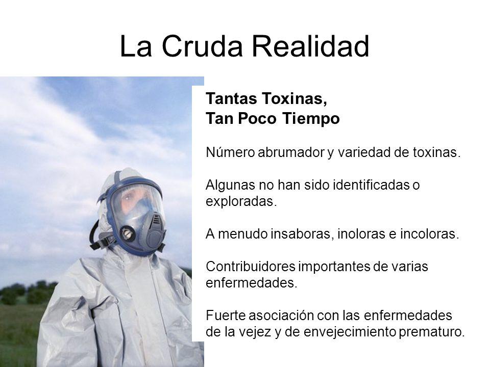 La Cruda Realidad Tantas Toxinas, Tan Poco Tiempo Número abrumador y variedad de toxinas. Algunas no han sido identificadas o exploradas. A menudo ins