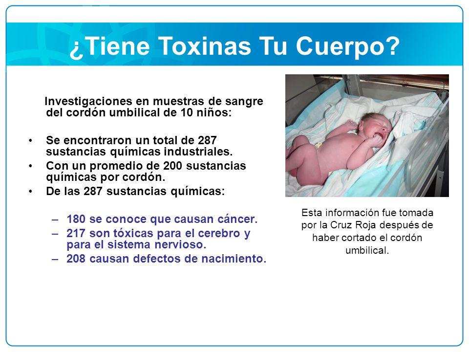 ¿Tiene Toxinas Tu Cuerpo? Investigaciones en muestras de sangre del cordón umbilical de 10 niños: Se encontraron un total de 287 sustancias químicas i