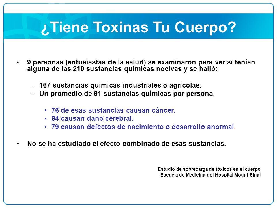 ¿Tiene Toxinas Tu Cuerpo? 9 personas (entusiastas de la salud) se examinaron para ver si tenían alguna de las 210 sustancias químicas nocivas y se hal
