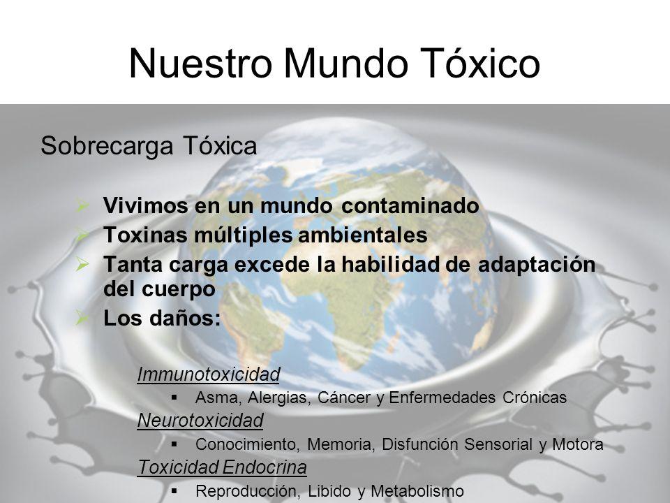 Nuestro Mundo Tóxico Sobrecarga Tóxica Vivimos en un mundo contaminado Toxinas múltiples ambientales Tanta carga excede la habilidad de adaptación del