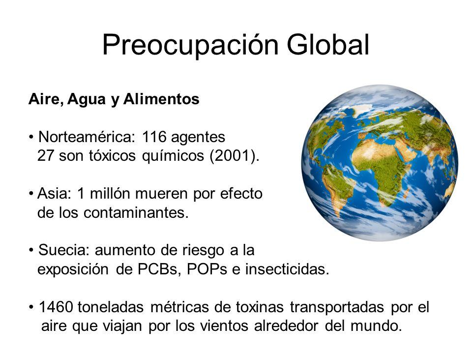 Preocupación Global Aire, Agua y Alimentos Norteamérica: 116 agentes 27 son tóxicos químicos (2001). Asia: 1 millón mueren por efecto de los contamina