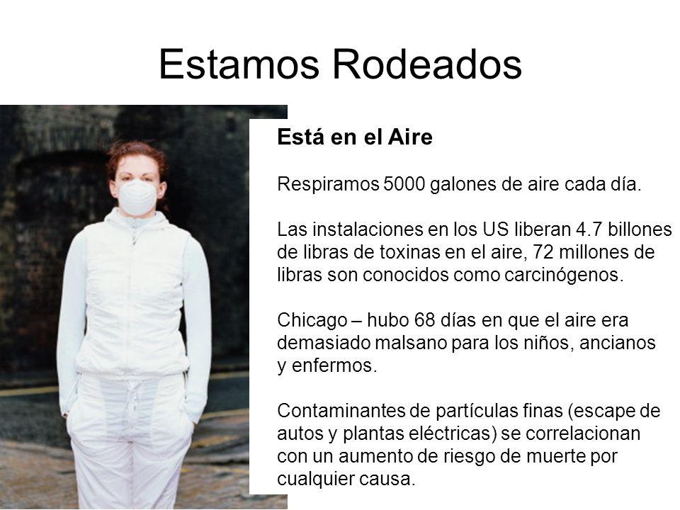 Estamos Rodeados Está en el Aire Respiramos 5000 galones de aire cada día. Las instalaciones en los US liberan 4.7 billones de libras de toxinas en el
