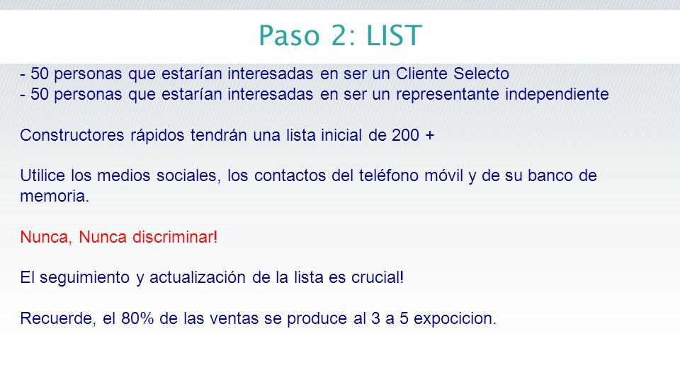 Paso 2: LIST - 50 personas que estarían interesadas en ser un Cliente Selecto - 50 personas que estarían interesadas en ser un representante independi