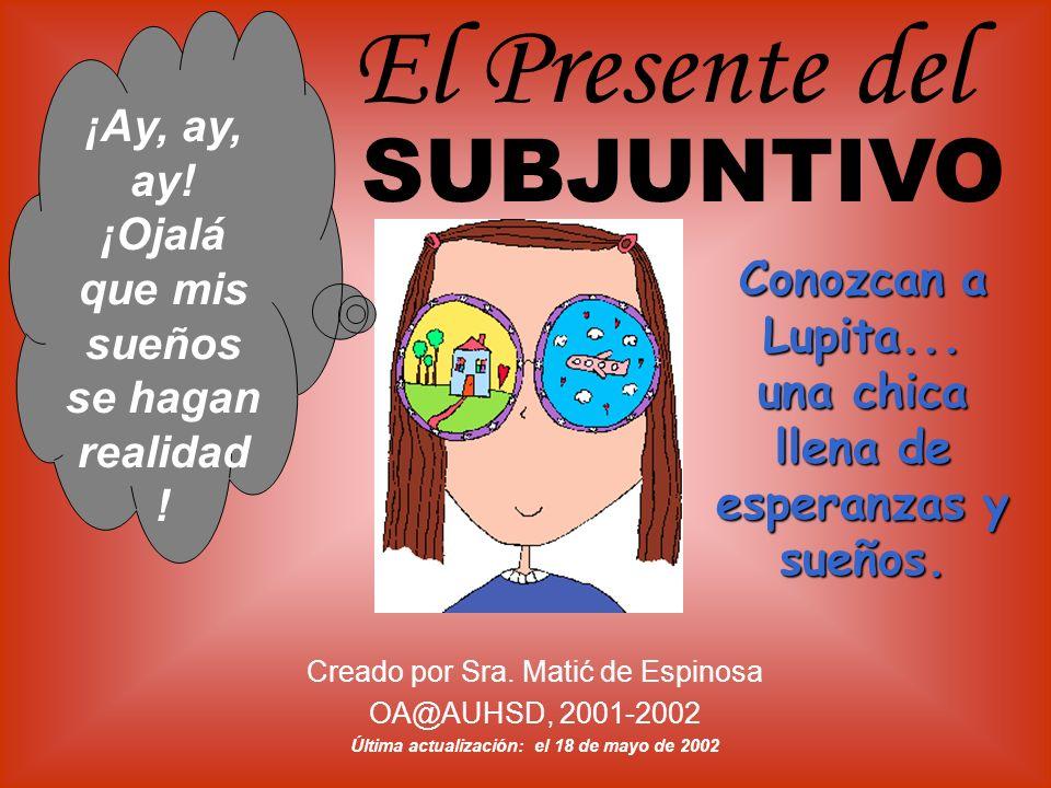 Creado por Sra. Matić de Espinosa OA@AUHSD, 2001-2002 Última actualización: el 18 de mayo de 2002 ¡Ay, ay, ay! ¡Ojalá que mis sueños se hagan realidad