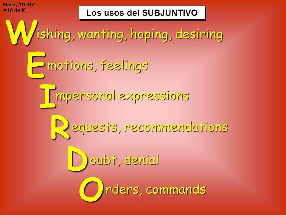 Los usos del SUBJUNTIVO Matić, 01-02 #16 de XWE I R D O Los usos del SUBJUNTIVO ishing, wanting, hoping, desiring motions, feelings mpersonal expressi