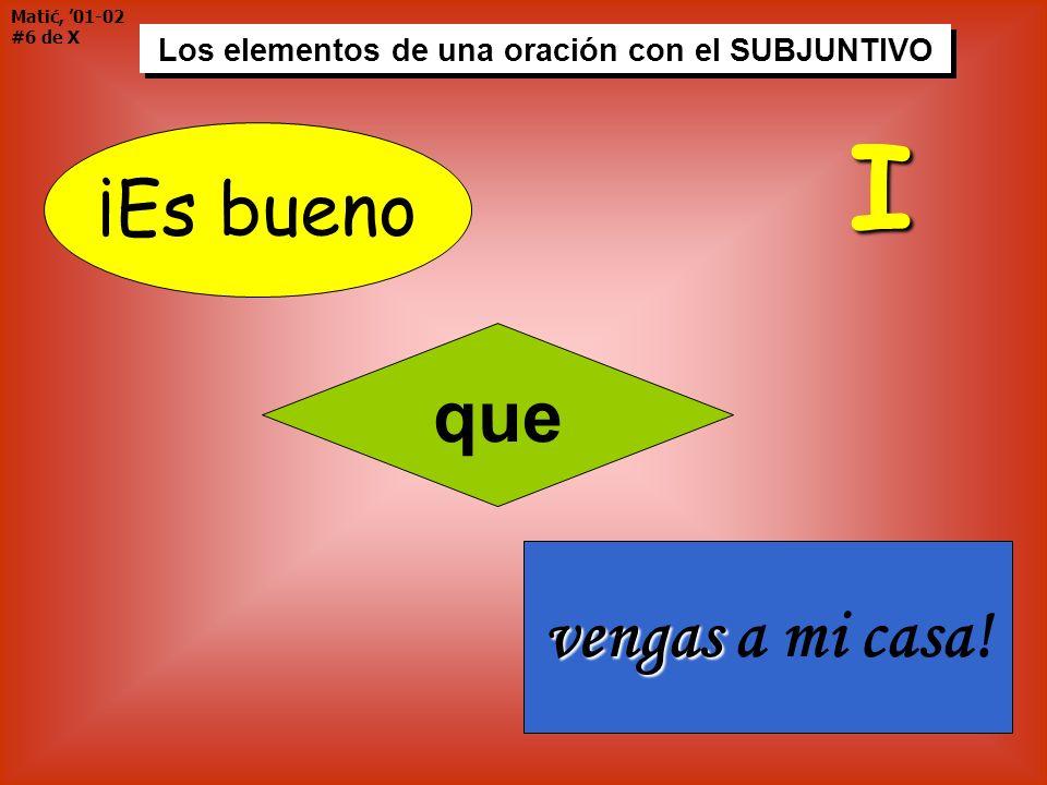 Matić, 01-02 #6 de X Los elementos de una oración con el SUBJUNTIVO ¡Es bueno que vengas vengas a mi casa! I