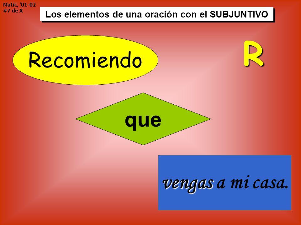 Matić, 01-02 #7 de X Los elementos de una oración con el SUBJUNTIVO Recomiendo que vengas vengas a mi casa. R
