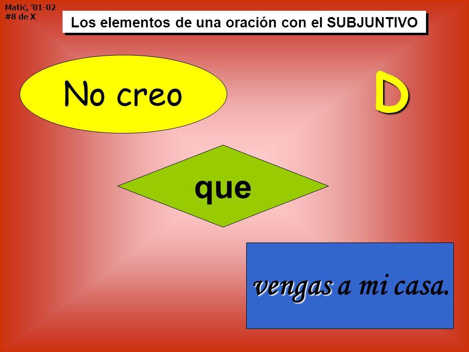 Matić, 01-02 #9 de X Los elementos de una oración con el SUBJUNTIVO Ven ¡Ven a mi casa.