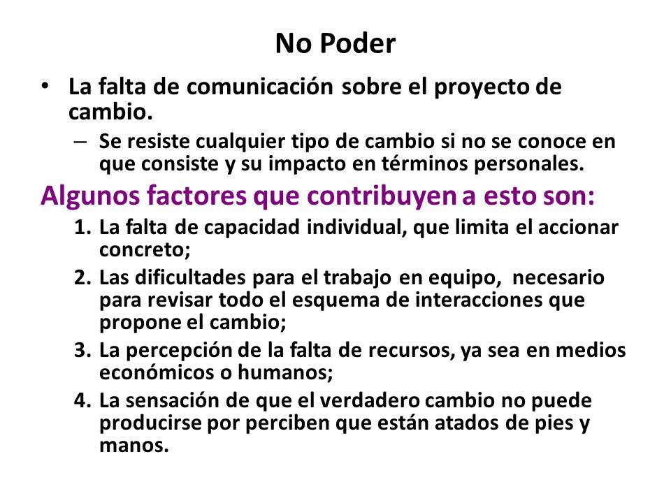 No Poder La falta de comunicación sobre el proyecto de cambio. – Se resiste cualquier tipo de cambio si no se conoce en que consiste y su impacto en t