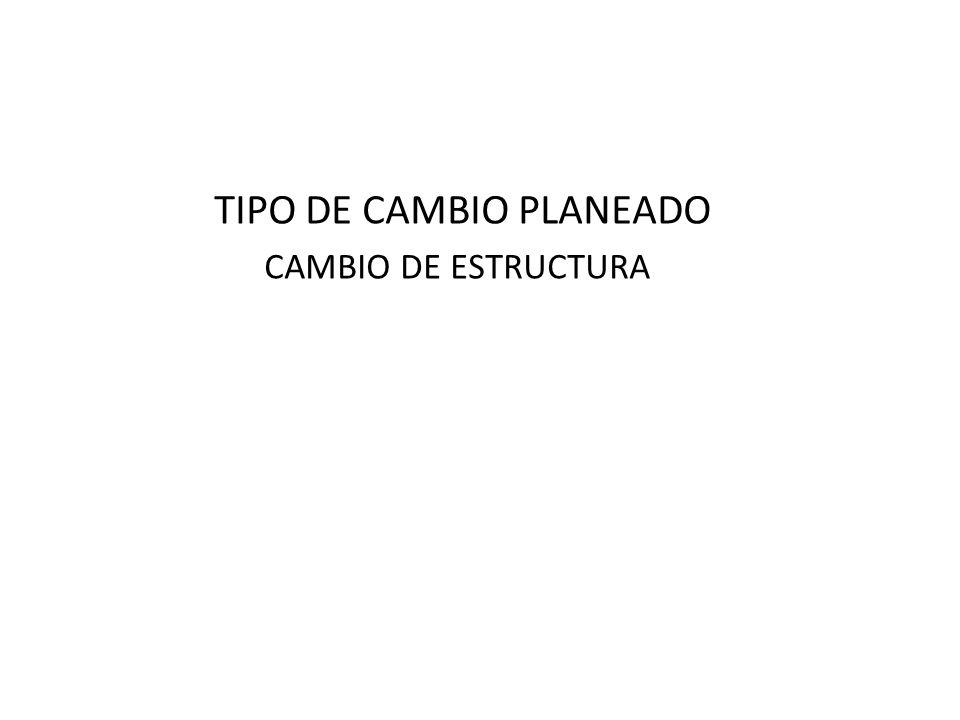 TIPO DE CAMBIO PLANEADO CAMBIO DE ESTRUCTURA