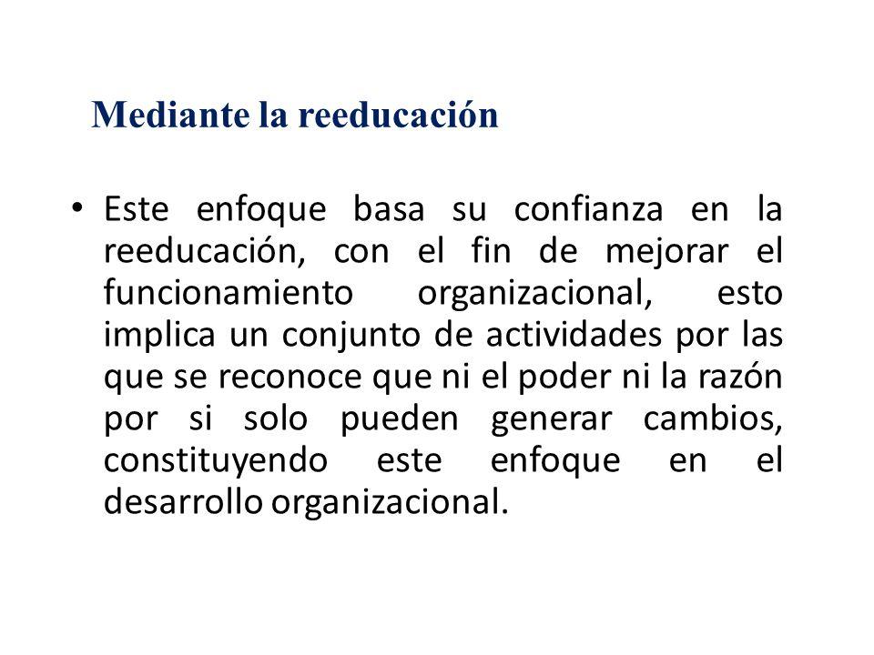 Mediante la reeducación Este enfoque basa su confianza en la reeducación, con el fin de mejorar el funcionamiento organizacional, esto implica un conj