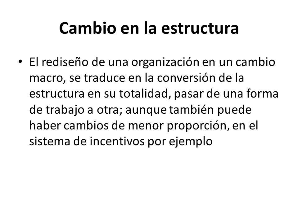 Cambio en la estructura El rediseño de una organización en un cambio macro, se traduce en la conversión de la estructura en su totalidad, pasar de una