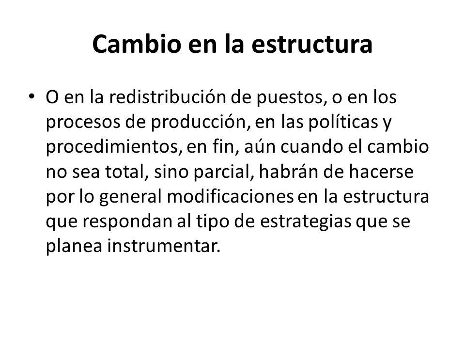 Cambio en la estructura O en la redistribución de puestos, o en los procesos de producción, en las políticas y procedimientos, en fin, aún cuando el c