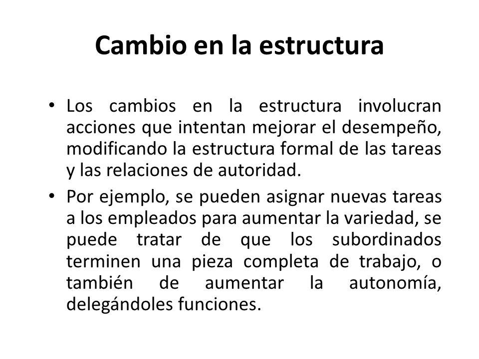 Cambio en la estructura Los cambios en la estructura involucran acciones que intentan mejorar el desempeño, modificando la estructura formal de las ta